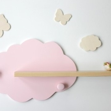 Prateleira nuvem de parede decoração porta de maternidade
