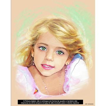 Linda caricatura desenho pintura digital de menina loira