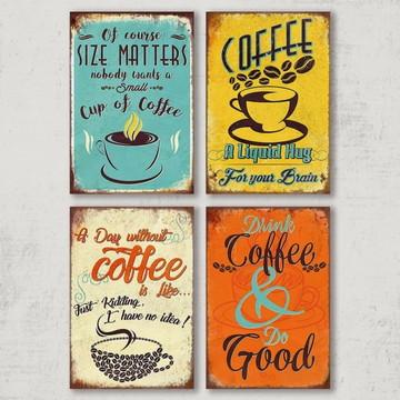 4 Quadros Decorativos Cores de Café