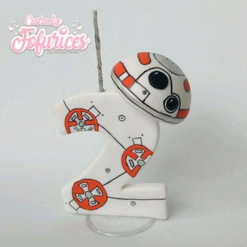 Vela Topo Bolo Star Wars Biscuit BB8 Léia Darth Vader Yoda