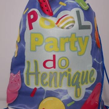 Mochilinha sacolinha sacochila Pool Party