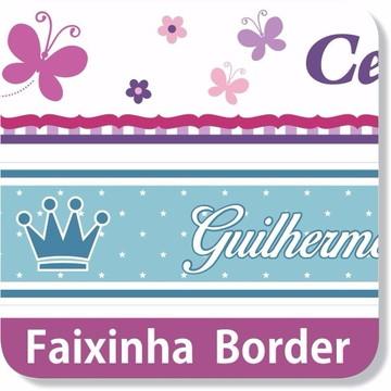 02 Faixas Border Adesivo Parede Borboletas Com Nome Filho