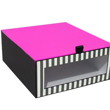Caixa p/Sapatos-Listras Pretas e Branca com Pink-Cod-3182