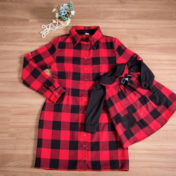 Chemise Xadrez e Vestido Trapézio com camisa - Mãe e Filha