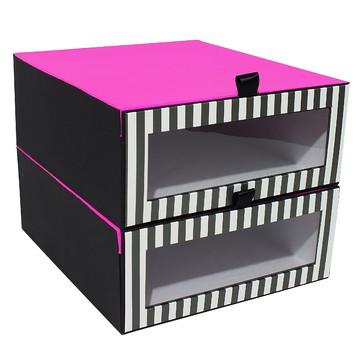 Conj. Caixas p/Sapatos-Listra preta e branca e Pink-Cod-3184
