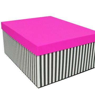 Caixa Organizadora-Listras Pretas e Branca c/Tampa Pink-3180