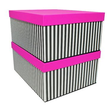 Caixas Organiz.-Listras Pretas e Branca e Pink-Cod-3181