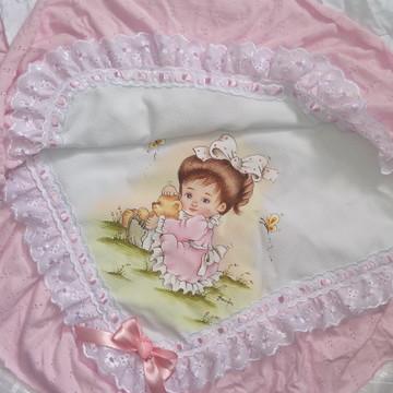Manta para recem nascido menina rosa
