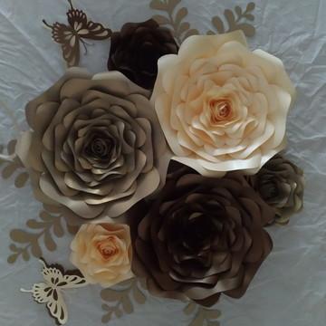 Kit com 7 Flores Papel 30 cm 15 cm folhas + brinde