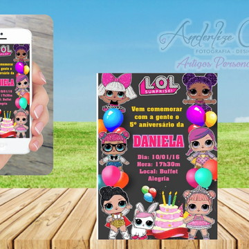convite arte digital (virtual) tema lol surprise