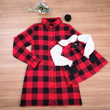 Chemise xadrez e vestido com camisa - Mãe e Filha