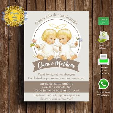 Convite Batizado Gêmeos