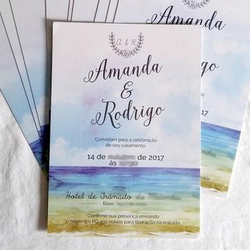 A42: Convite para Casamento Aquarela Praia