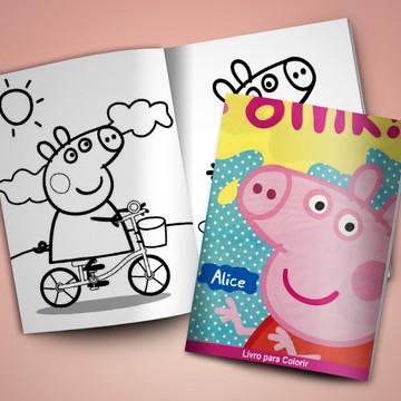 Revistinha para colorir + Giz de cera Peppa Pig