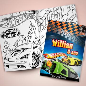Revistinha para colorir + Giz de cera Hot Wheels