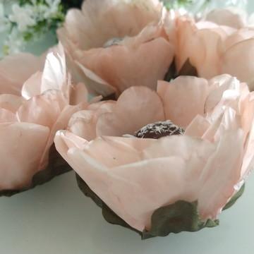 Forminha Rosa aberta de papel glacine tingido