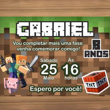 Convite Digital tema Minecraft