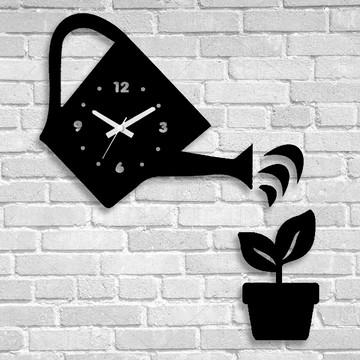 Relógio de paredes regador vaso planta jardim