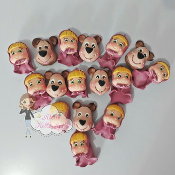 Ponteiras de lapis de biscuit masha e o urso em biscuit