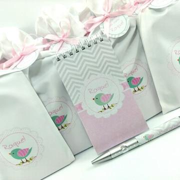 Bloquinho Maternidade saquinho em tecido passarinho