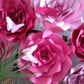 9 Flores Gigante De Papel 30 c m 25 cm e folhas
