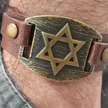 Bracelete Masculino Placa Estrela De Davi
