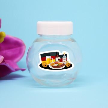 Baleiro de plástico com adesivo - Alemanha comida