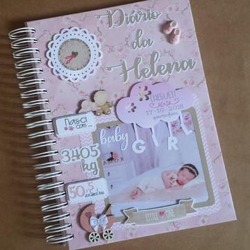 Diário do Bebê e Caixa Personalizados - Menina Rosa