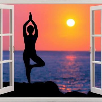 Adesivo Parede Ioga Saúde Exercício Beleza Relax Paz Janela