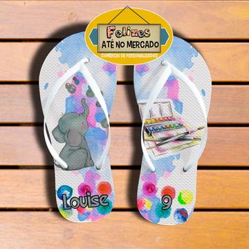 Sandália Personalizada Tema Aquarela! Lembrancinha Niver