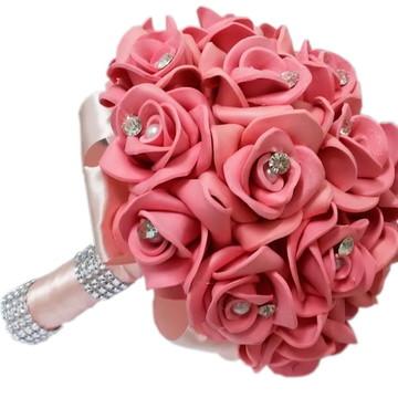 Buquê Daminha De Honra Casamentos Pequeno Rosê Rosa Chá