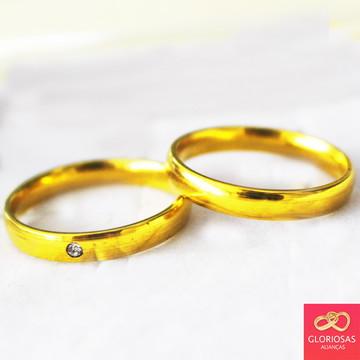 Alianças 4mm zirconia tradicional casamento