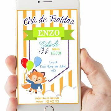 Convite Digital Chá de Fraldas Raposinha