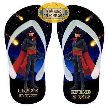Chinelo Festa Aniversário Tema Zorro! Sandálias Brinde
