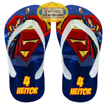 Sandália Personalizada Tema Super Homem! Lembrancinha Niver