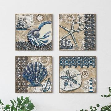 4 Quadros Decorativos Maré Alta