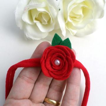 Faixa Flor em Feltro e Pérola