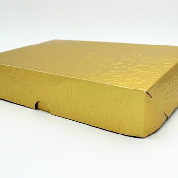 Caixa dourada para presente ou doces com laço 14x4x21 cm