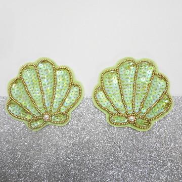 Aplique roupa concha do mar verde claro