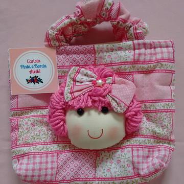 Bolsa infantil carinha de boneca