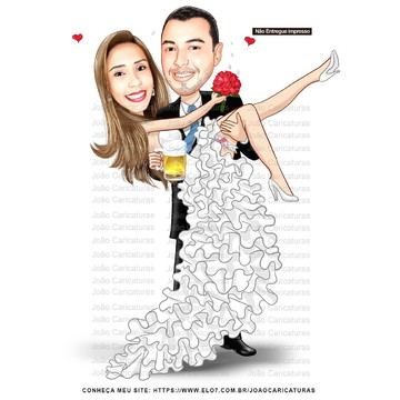 Caricatura digital de casal-Tema casamento