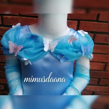 Vestido Cinderela borboletas com luvas