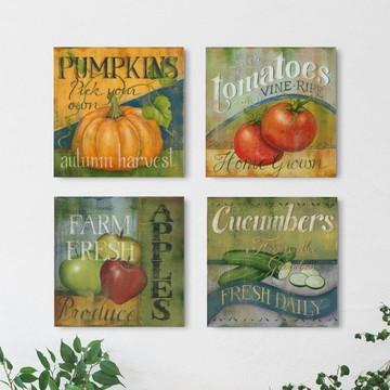 4 Quadros Decorativos Frutas & Legumes