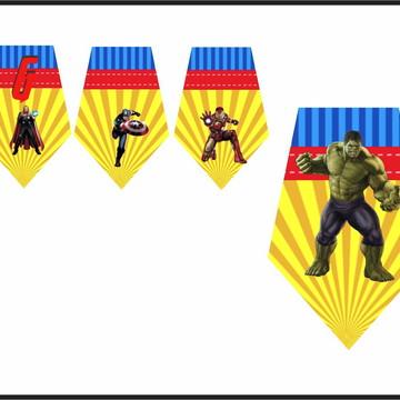 Bandeirolas Personalizada Decoração Festa - Vingadores