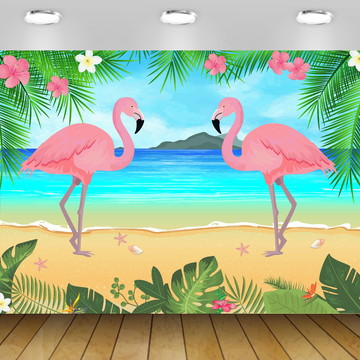 PAINÉL TROPICAL FLAMINGO - 2X1,50M - ARQUIVO DIGITAL
