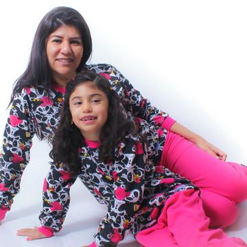 Kit 2 Pijama Flanelado Tal Mãe Tal Filha Panda