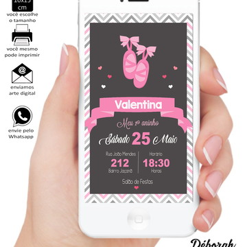 Convite Bailarina - Arte Digital