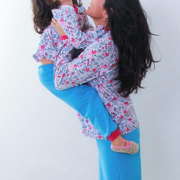 Kit 2 Pijama Flanelado Tal Mãe Tal Filha LOVE