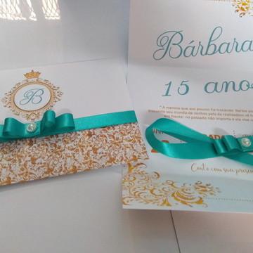 Convite 15 anos azul Tiffany com dourado