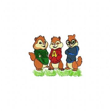 Matriz Bordado Alvin e os Esquilos Agulha Feliz Matrizes